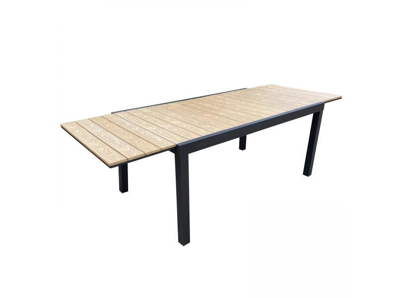 Table de jardin extensible 200/300 aluminium et polywood nimes 12 places aluminium marron