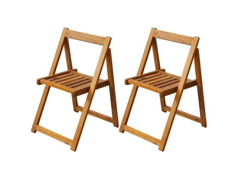Vidaxl chaise pliante d'extérieur 2 pièces bois d'acacia 42660