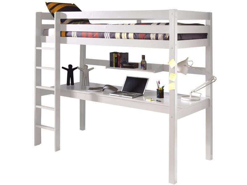 lit sur lev 90x200 cm avec bureau et tag re en pin massif coloris blanc vente de comforium. Black Bedroom Furniture Sets. Home Design Ideas