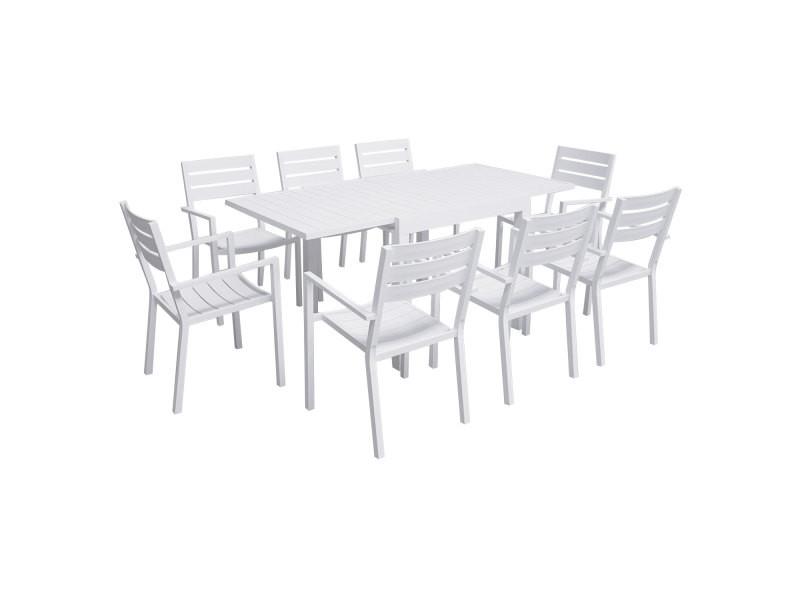 Salon de jardin venezia extensible 90/180 en aluminium blanc - 8 places