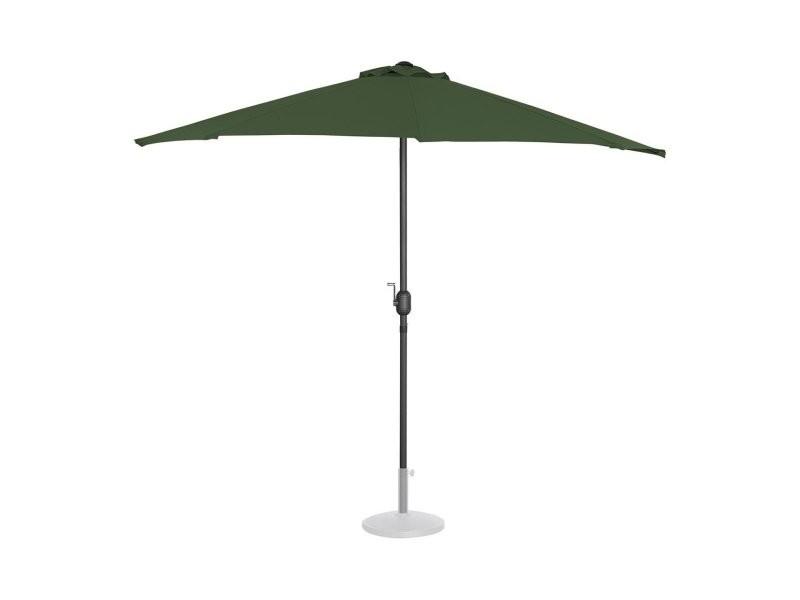 Demi parasol de jardin meuble abri terrasse pentagonal 270 x 135 cm vert helloshop26 14_0001343
