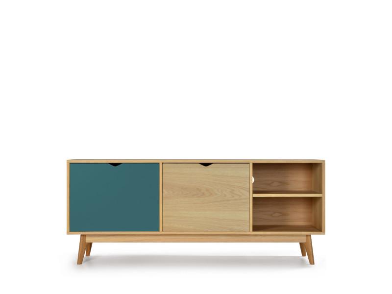 Ström - meuble tv design 2 portes chêne - couleur - vert eucalyptus