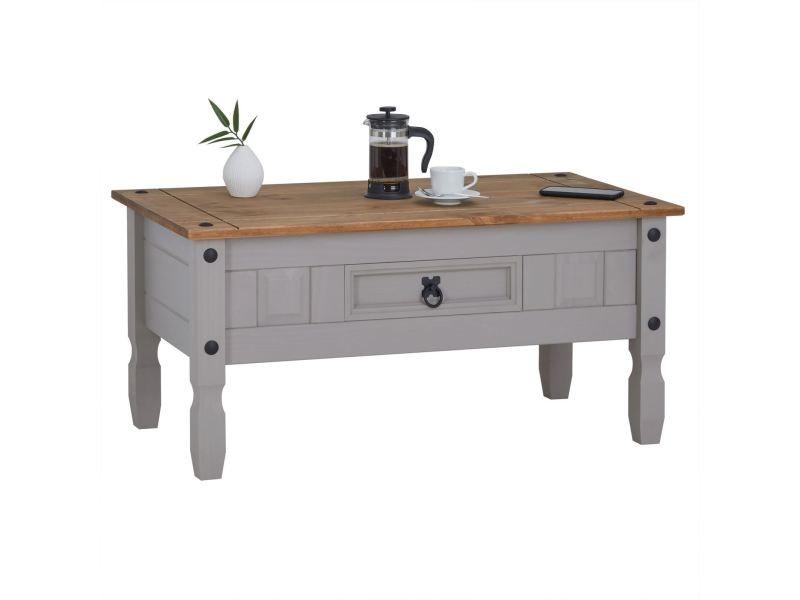 Table Basse Ramon Table D Appoint Rectangulaire En Pin Massif Gris Et Brun Avec 1 Tiroir Meuble De Salon Style Mexicain En Bois Vente De Idimex Conforama