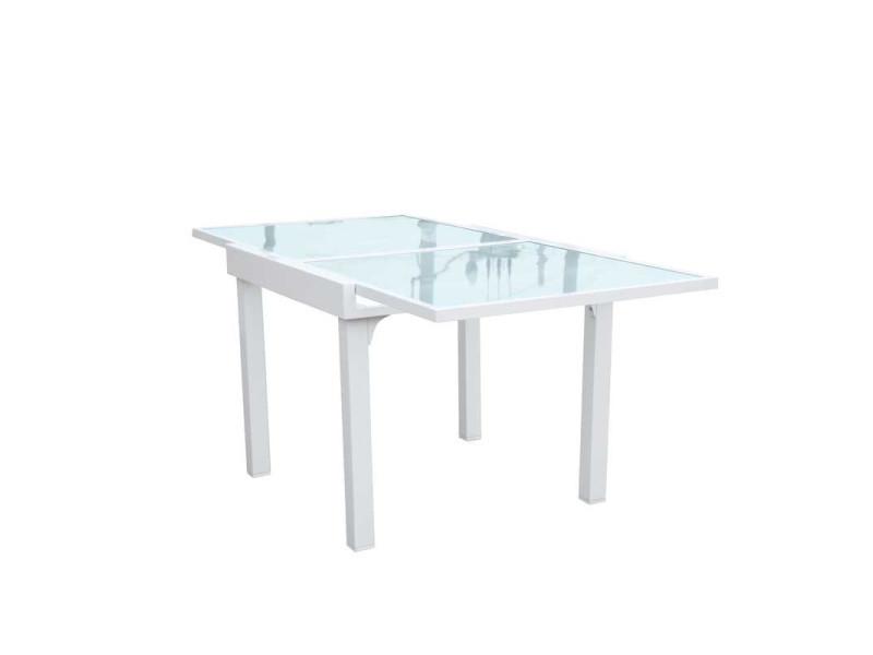 Blanc Carrée Table L Extensible Repas Sayuri De Verrealuminium IE2be9HYWD