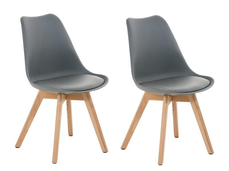 1fe177e51272 Lot de 2 chaises de salle à manger scandinave simili-cuir gris pieds bois  cds10002 - Vente de Chaise - Conforama