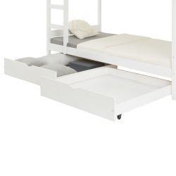 Lot/2 tiroirs pour lit superposé, 90x200cm, blanc