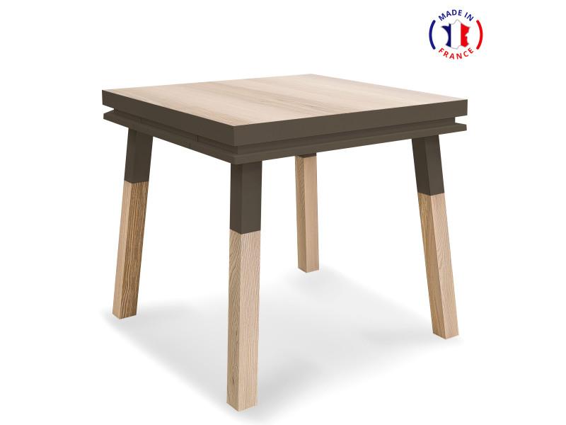 Bureau carré en bois massif avec tiroir gris chocolat tanis - 100% made in france