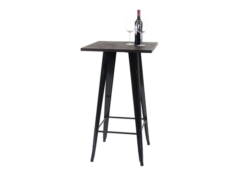Table mange-debout hwc-a73, plateau en bois, design industriel, métal, 107x60x60cm, noir
