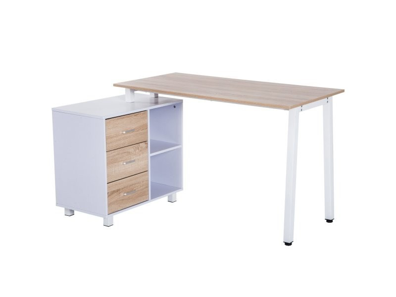 bureau d 39 angle bureau informatique table ordinateur avec table 3 tiroirs 2 niches ch ne et blanc. Black Bedroom Furniture Sets. Home Design Ideas