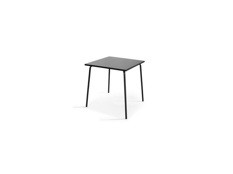 Table en métal, style industriel, 70 x 70 cm, palavas 4 places acier gris