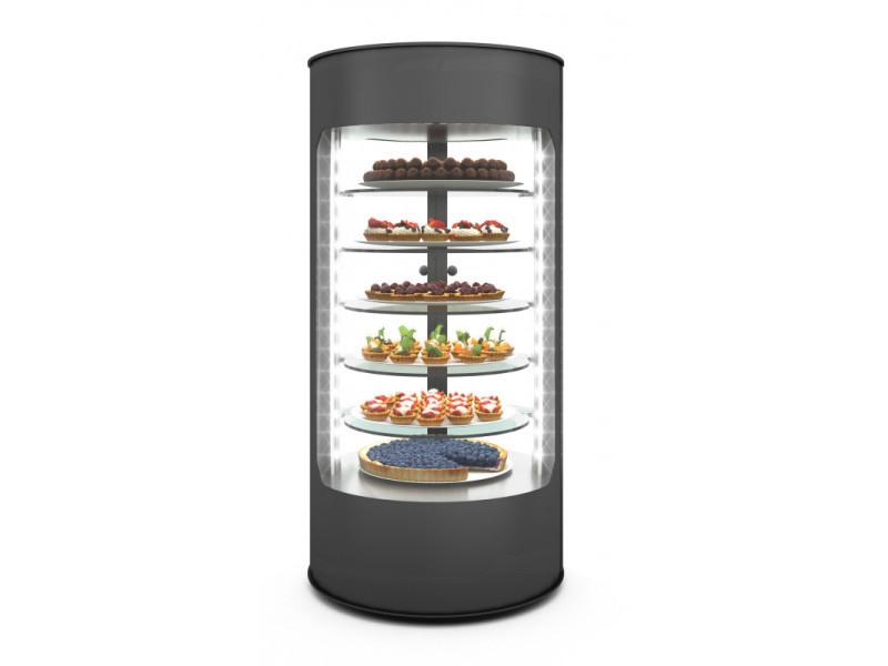 Vitrine réfrigérée verticale 360° série dolce 3 à 5 etagères - 435x900 mm - sayl - 3 étagères