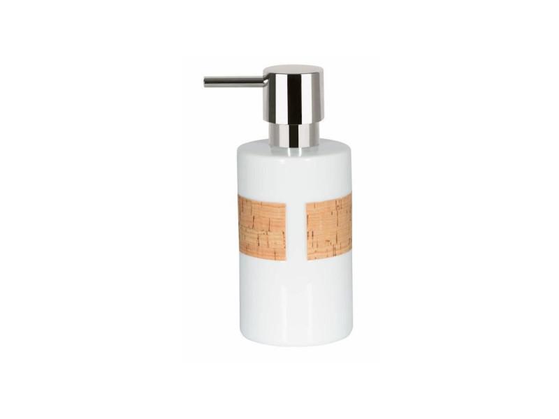Tube distributeur de savon porcelaine et liege - 16x7x7 cm - blanc