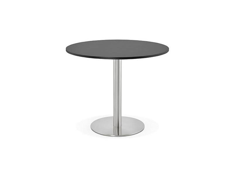 Table à manger ronde 90 cm en bois noir et pied en acier - bahia