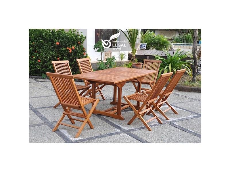 Lubok : salon de jardin teck huilé 6 personnes - table rectangulaire ...