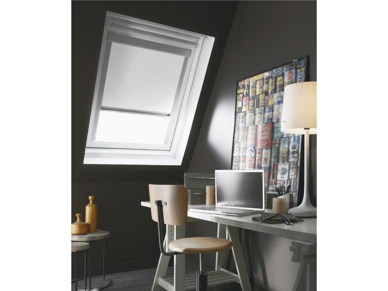 97 x 116cm - s08(l x h) - store enrouleur occultant cadre alu compatible velux® - blanc
