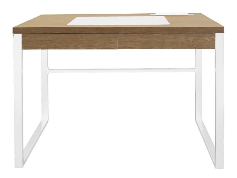 Bureau en bois et métal coloris blanc - dim : 100 x 74 x 50.3 cm -pegane-