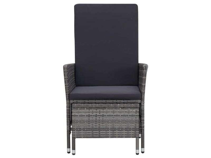 Vidaxl chaise inclinable de jardin avec coussins résine tressée gris 310230