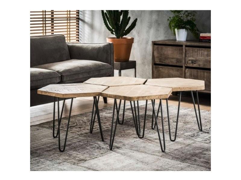 Lot de 4 tables basses design industriel hexa en bois massif 20100877075