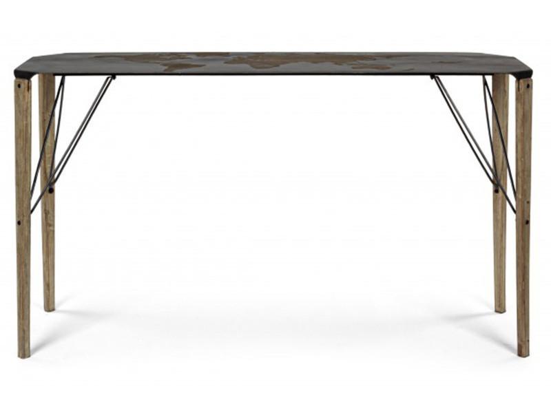 Console en bois de chêne - dim : l 140 x p 45 x h 80 cm -pegane
