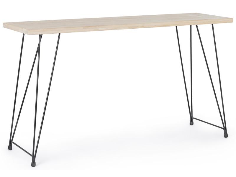 Console / table d'entrée en acier et bois , naturel - l.140 x p.39 x h.79 cm