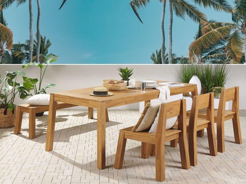 Ensemble de jardin 6 places table banc et 3 chaises en bois acacia clair livorno 250263