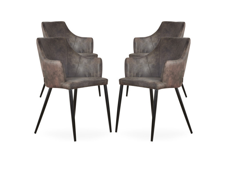 Lot de 4 chaises zarah en simili cuir marron foncé - rembourrée
