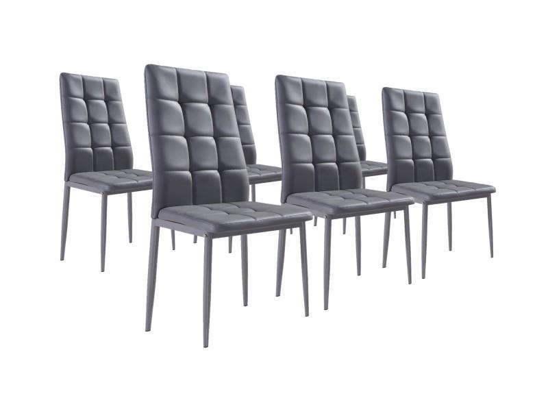 nina gris lot de 6 chaises simili gris conforama. Black Bedroom Furniture Sets. Home Design Ideas