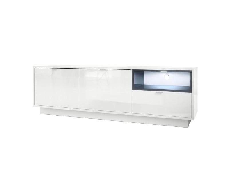 Meuble tv 153 cm laqué blanc avec insertion gris