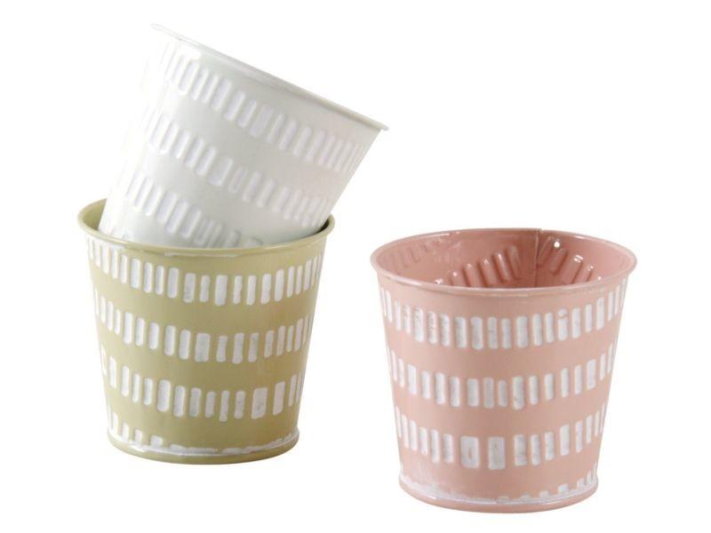 Mini cache-pot rond pastel (lot de 3)