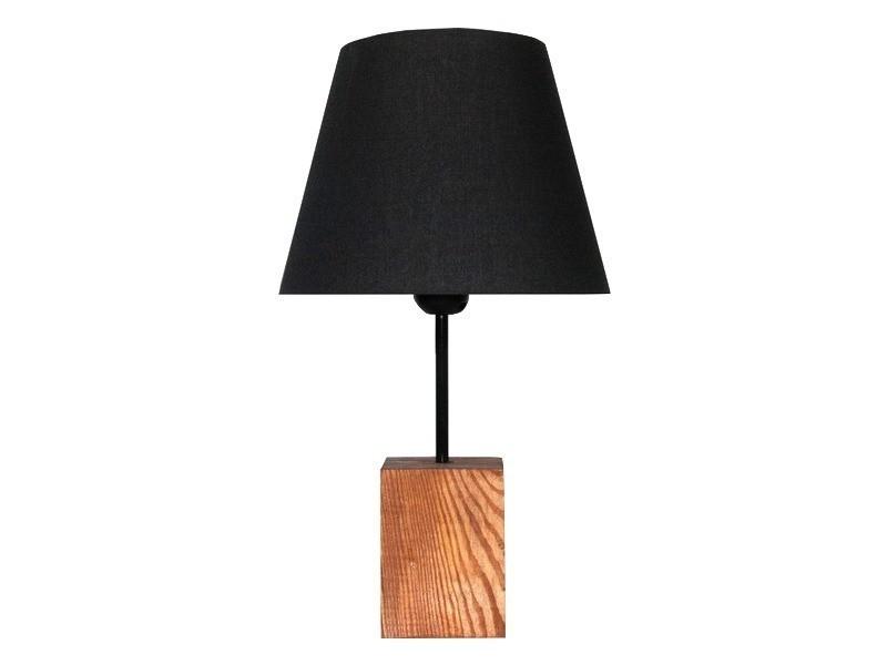 Lampe de bureau socle bois abat jour noir design industriel noir