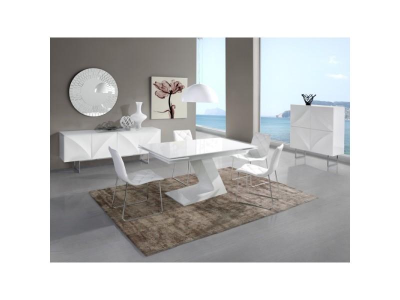 Table à manger rectangulaire extensible 160-220cm en bois laqué blanc apus - l 160 x l 90 x h 76