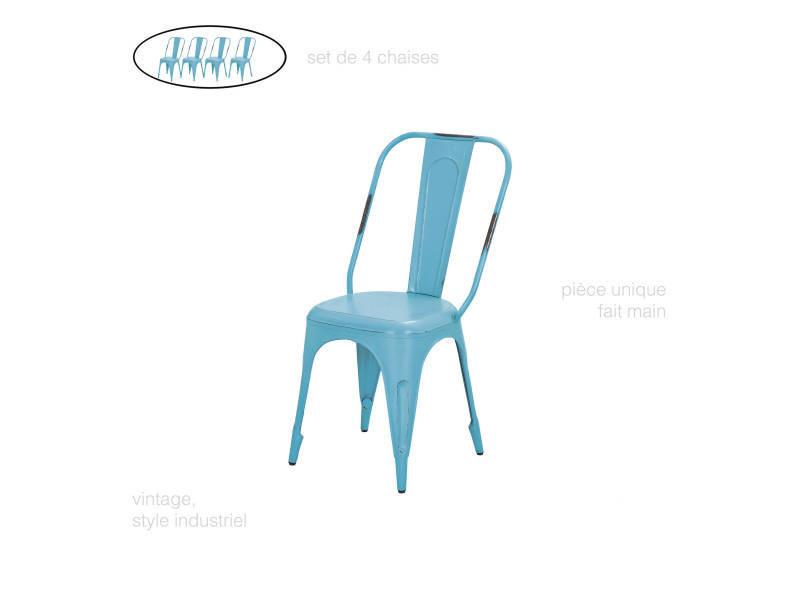Set De 4 Chaises En Metal Bleu Turquoise Vieilli Vintage Retro