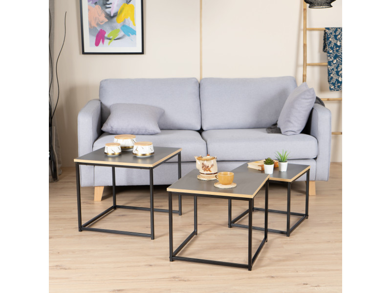3 tables basses carrées gigognes en boir et métal noir design industriel