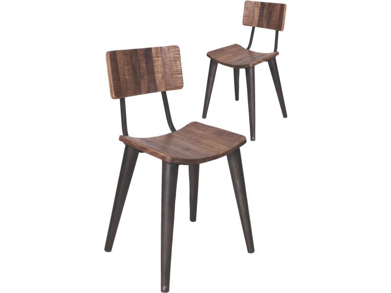 Lot De 2 Chaises Design Industrielle En Bois Manguier Et Fer Forge Coloris Brun Noir Antique P 36899 Co C Tove