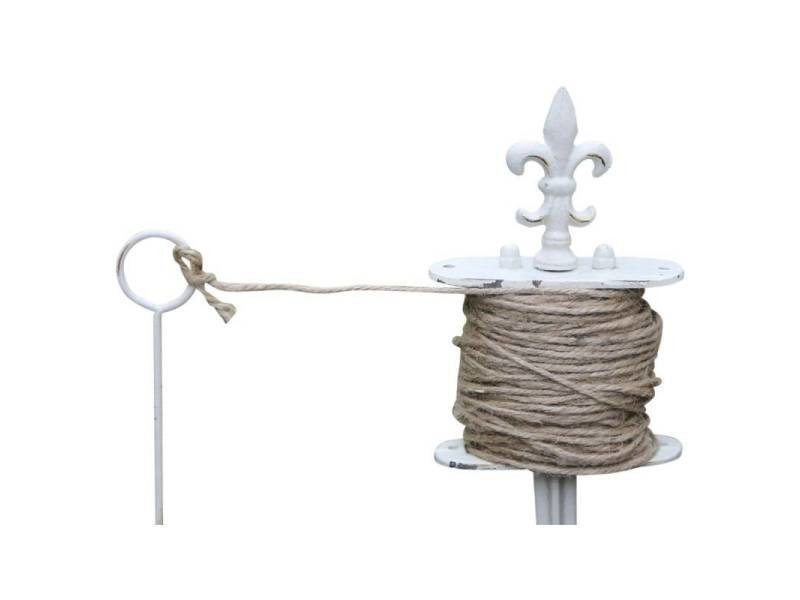Cordeau de jardinage motif fleur de lys de potager pic piquet en métal patiné blanc 5,5x12x33cm