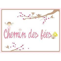 Stickers enfant lili pouce plaque de porte - chemin des fées