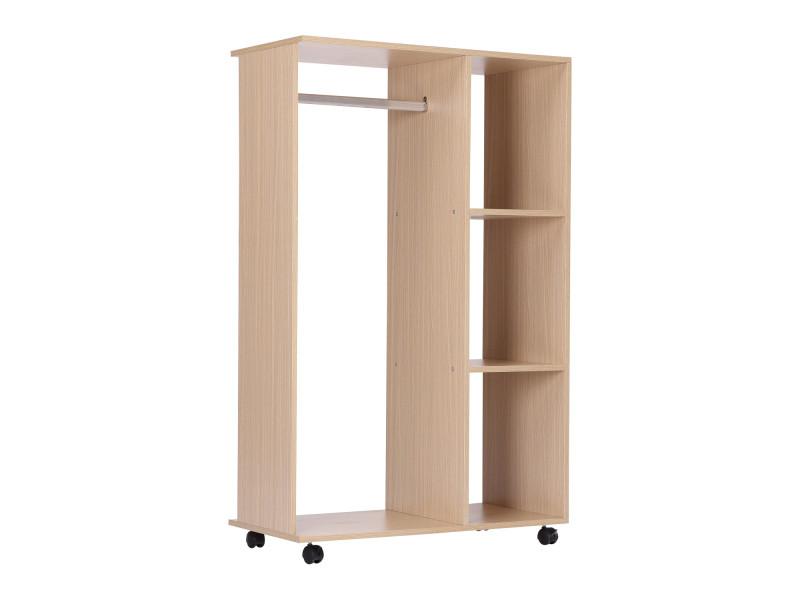 Armoire penderie armoire de rangement mobile panneaux de particules coloris chêne clair
