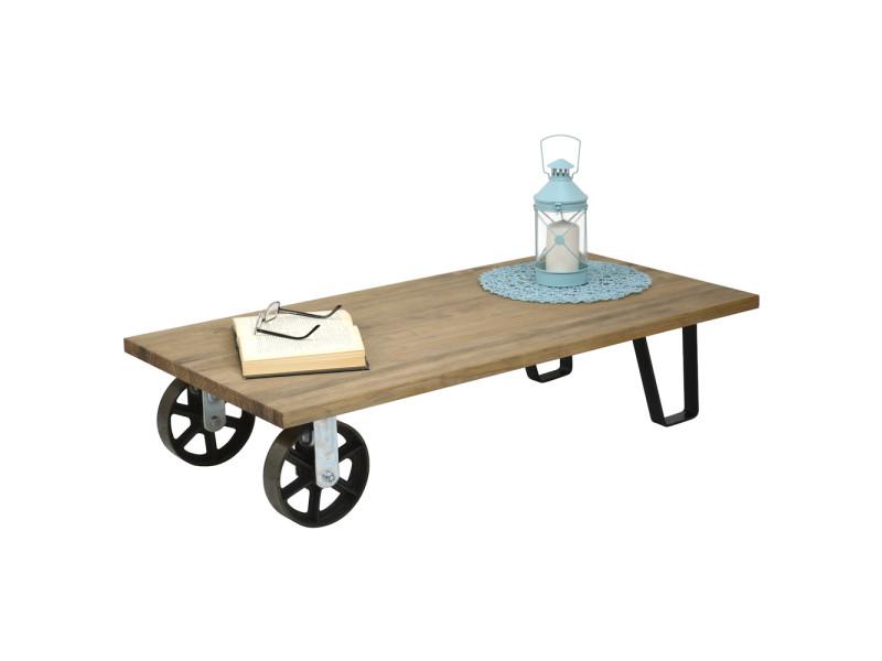 Table basse avec 2 roues en fonte industriel - 120 x 60 x 27 cm CAR 2R2P 6012027-33