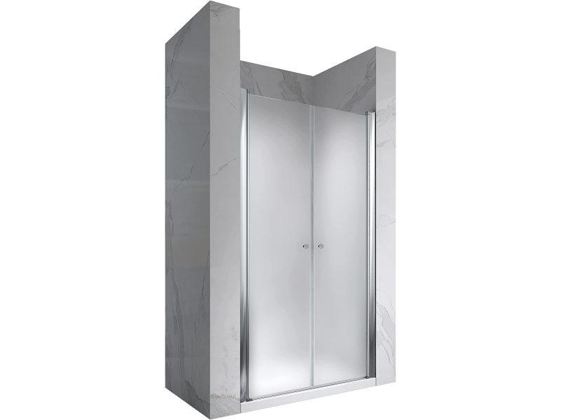 Porte de douche hauteur 195 cm - largeur réglable / verre dépoli avec traitement nano anti-calcaire (80-84 cm, dépoli / opaque)