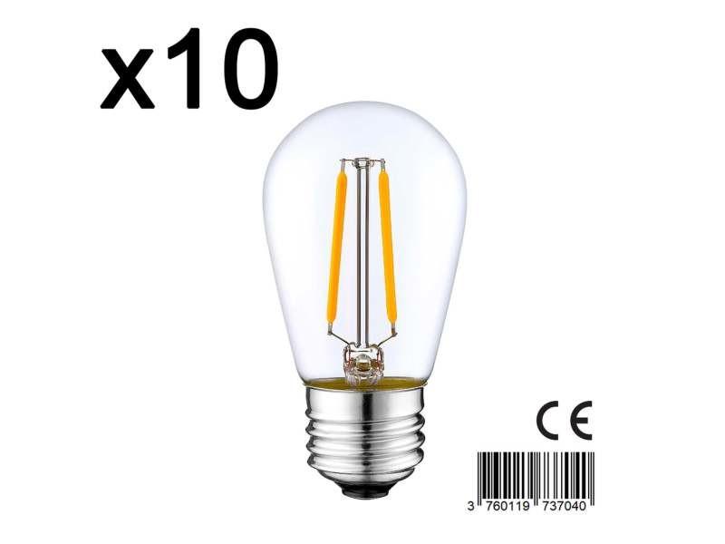 Lot de 10 ampoule filament led e27 blanc chaud xena e27 s45 2w h10cm