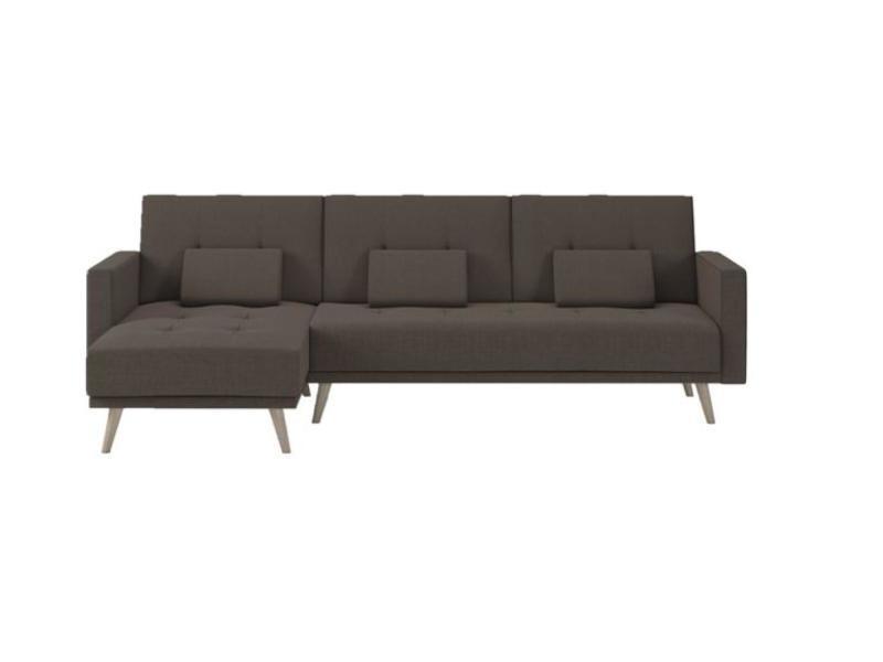 Canapé-chaise longue verona 267cm, convertible en lit, réversible, marron