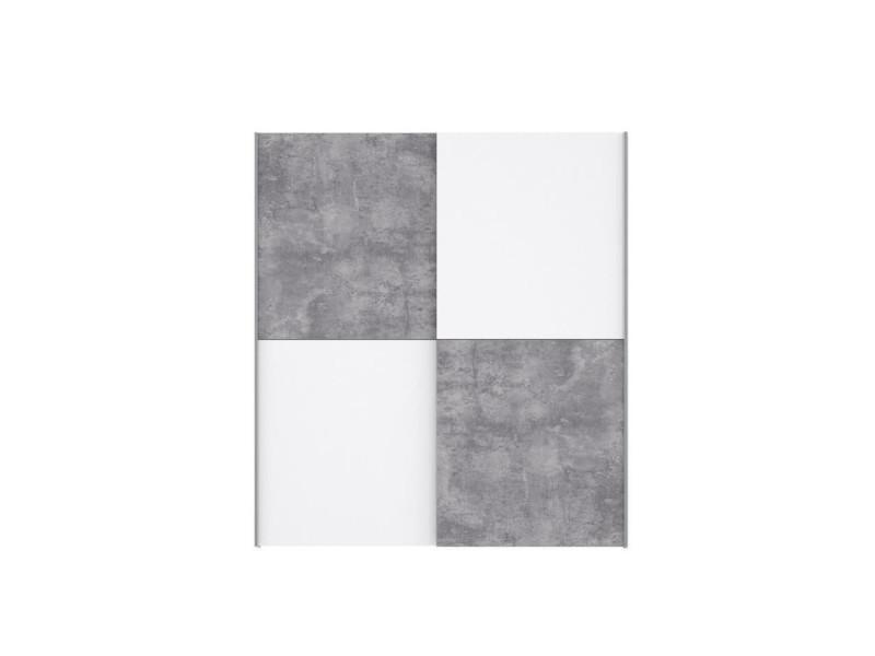 Ulos armoire 2 portes coulissantes - décor béton gris clair et blanc - l 170.3 cm W3NS822X5C291