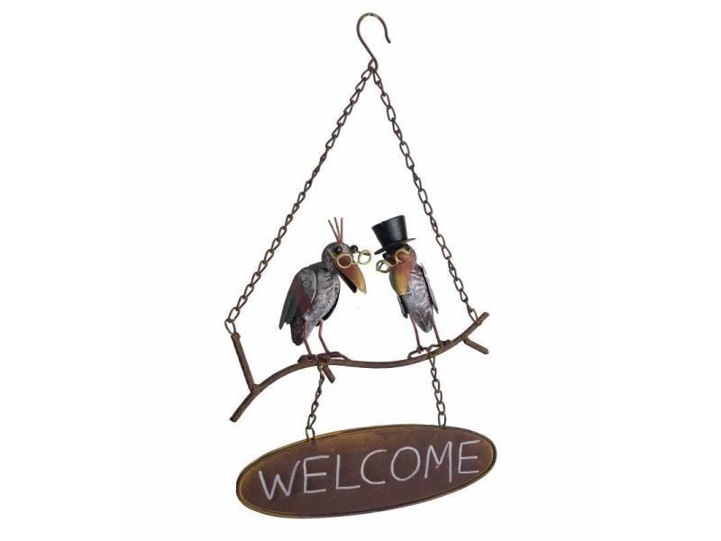 Suspension écriteau à suspendre panneau welcome motifs corbeaux en métal 11x28x49cm