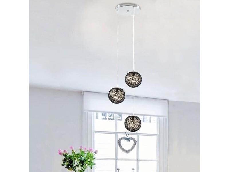 suspension lustre rotin 3 boules noir - vente de ego design