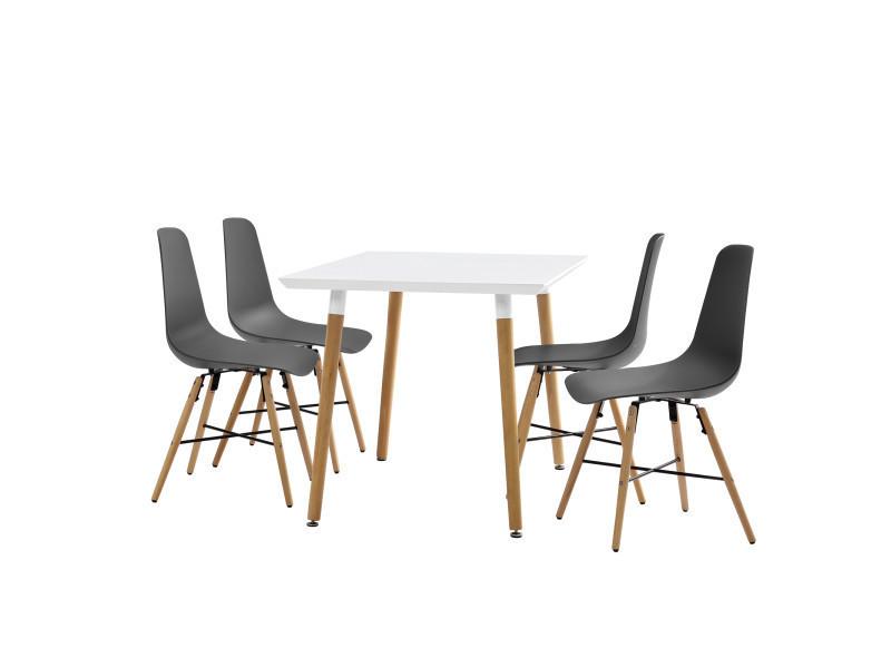 en.casa]® table à manger blanc 120 x 70 x 75cm + chaises gris 85,5 x ...