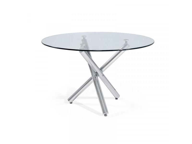 Table ronde en verre 120 cm - petra - l 120 x l 120 x h 75 cm
