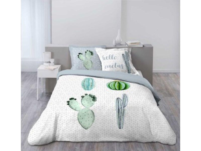 parure housse de couette 260 x 240 cm modele hello cactus vente de parure de lit 1 personne. Black Bedroom Furniture Sets. Home Design Ideas