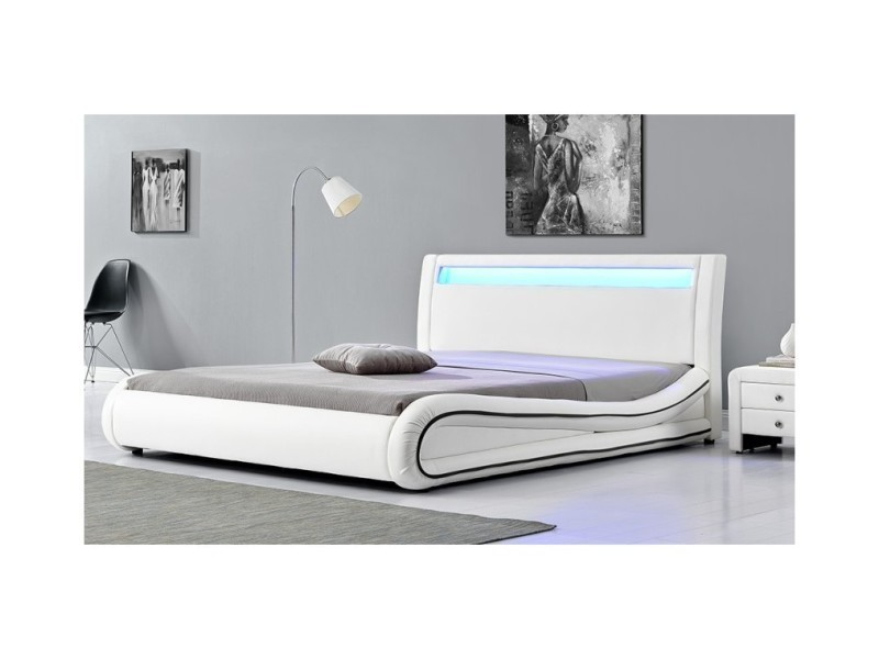magnifique lit milkyway blanc led 160x200 sbrled 005 160 wh vente de lit adulte conforama. Black Bedroom Furniture Sets. Home Design Ideas