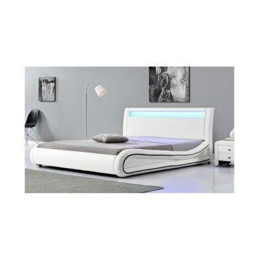 magnifique lit milkyway blanc led 160x200 sbrled 005 160 wh vente de lit adulte conforama. Black Bedroom Furniture Sets. Home Design Ideas