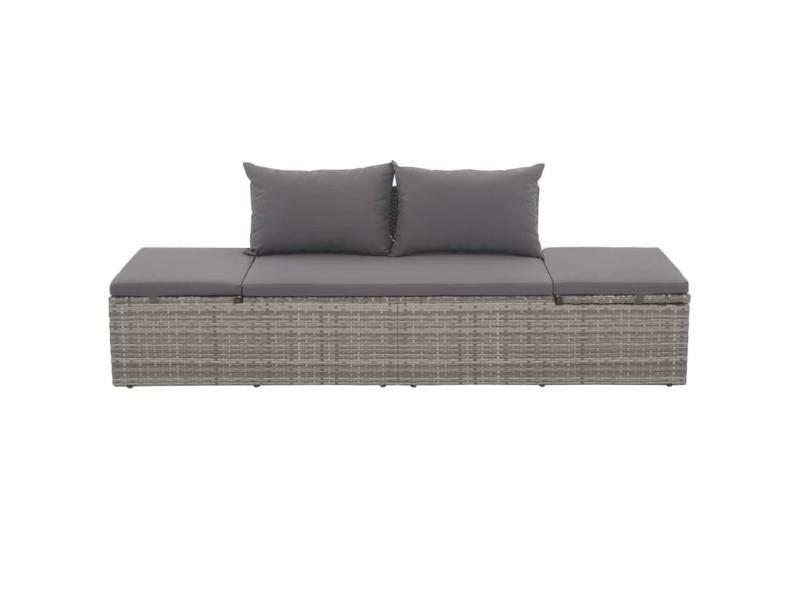 Icaverne - lits d'extérieur collection canapé d'extérieur résine tressée 195 x 60 x 60 cm gris